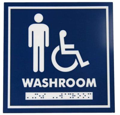 WASHROOM SIGN - MALE WHEELCHAIR - W/B