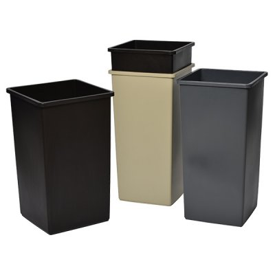 SQUARE RECEPTACLE - 25 GAL - GREY