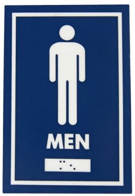 WASHROOM SIGN - MALE - W/ BRAILLE