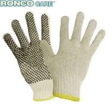 COTTON STRING KNIT GLOVE W/ PVC DOT - LG