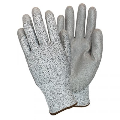 GRAY CUT RESISTANT PU COATED GLOVE - LG