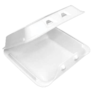 FOAM HINGED LID CONT - 9X9X3.5 - 150/CS